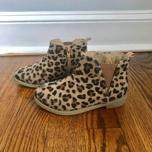 Toddler Girls Leopard Booties - Size 7